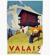 Wallis, Schweiz, Ski Poster Poster