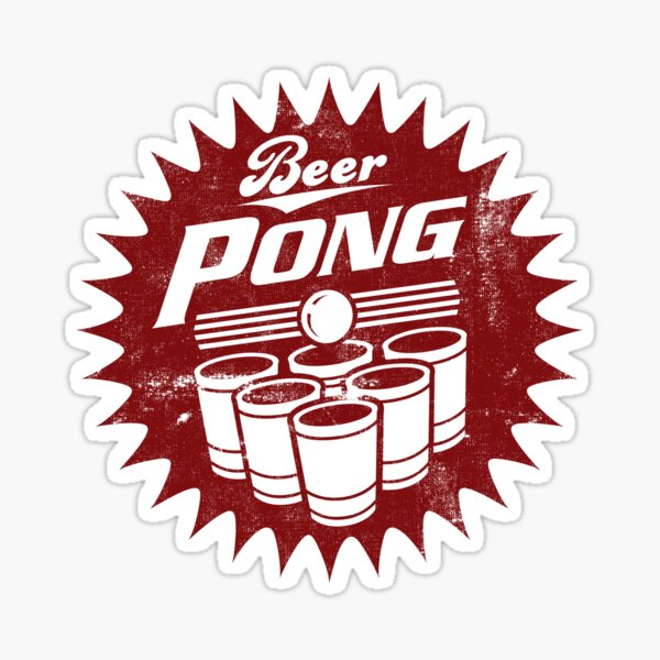 6 CUP BEERPONG LOGO 1950, 1960 STYLE USED LOOK, BY SUBGIRL Sticker