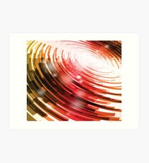 Yellow Black Red Circle on a White Background Abstract Art Art Print