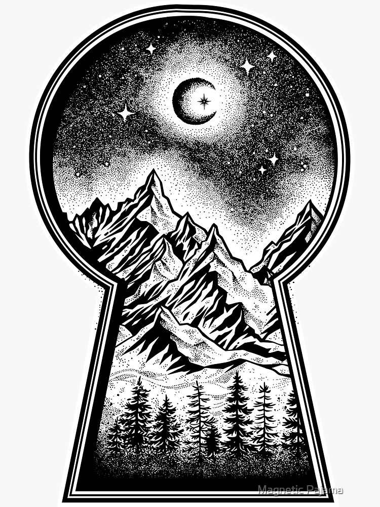 Keyhole Revealing Snowy Mountains, Moon and Stars by MagneticMama