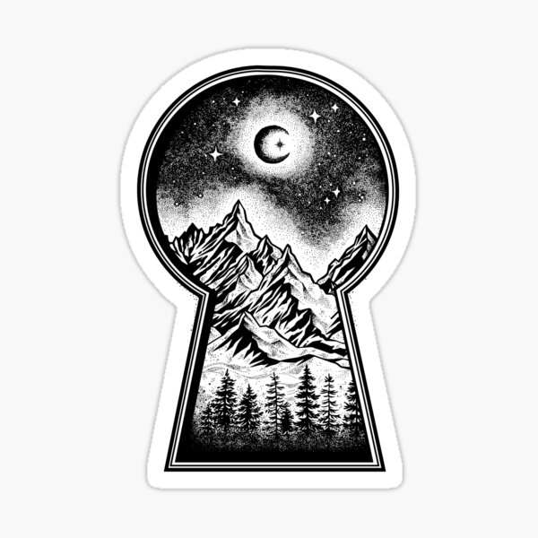 Keyhole Revealing Snowy Mountains, Moon and Stars Sticker