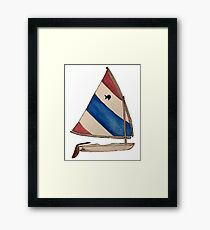 Sunfish Sailboat Red White and Blue Framed Print
