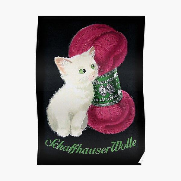 Vintage German wool yarn advert featuring a cute kitten Poster
