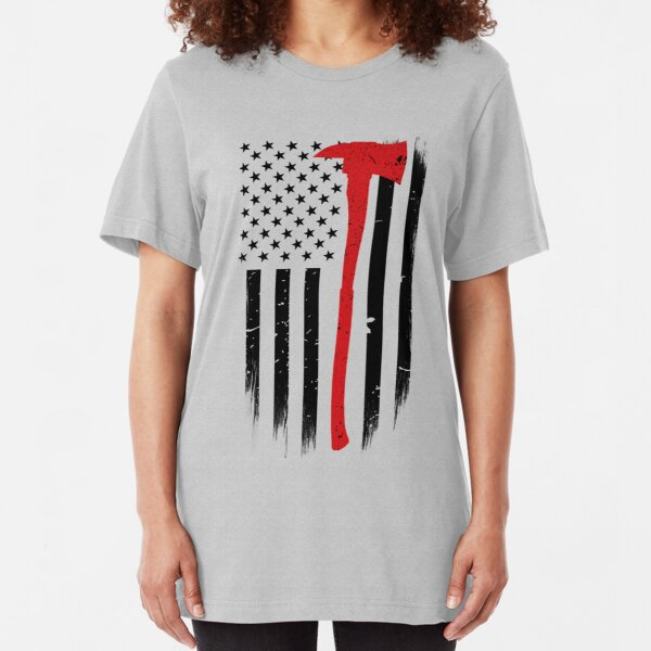 Thin Red Line Firefighter Axe Slim Fit T-Shirt