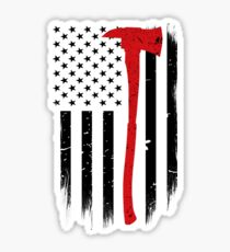Thin Red Line Firefighter Axe Sticker
