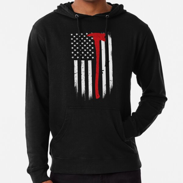 American Flag Thin Red Line Sweatshirt Firefighter First Responder Sweater