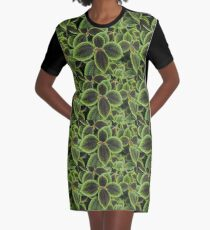 Green Ric Rac Edging Graphic T-Shirt Dress