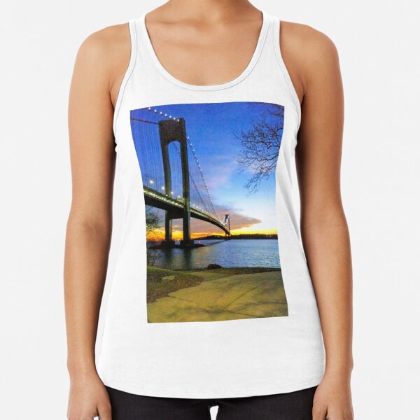 #Verrazano-Narrows #Bridge #VerrazanoNarrowsBridge #water architecture suspensionbridge travel river sky city Racerback Tank Top