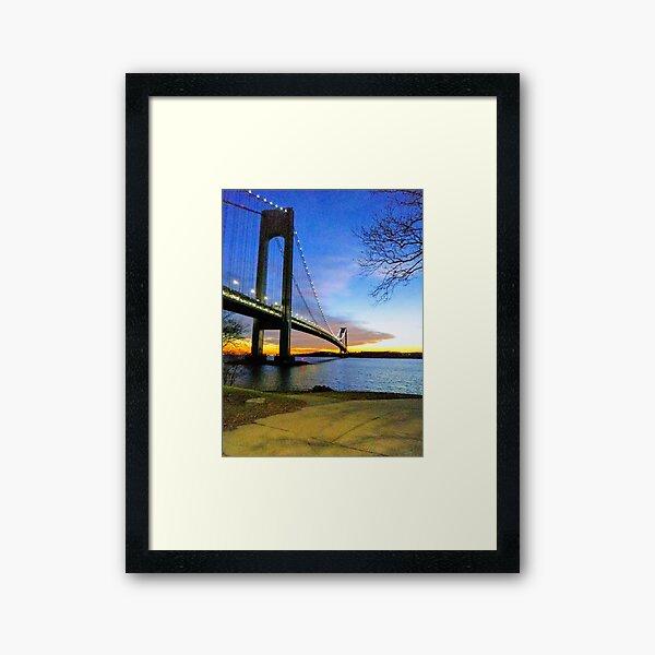#Verrazano-Narrows #Bridge #VerrazanoNarrowsBridge #water architecture suspensionbridge travel river sky city Framed Art Print
