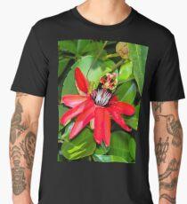 Crimson Passion Flower Men's Premium T-Shirt