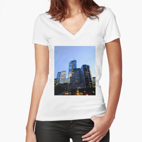 Lower Manhattan, New York, NY Fitted V-Neck T-Shirt