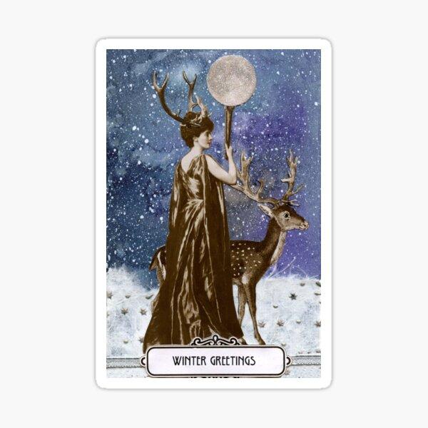 Winter Solstice Moon Goddess Sticker