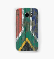 Flag of South Africa on Rough Wood Boards Effect Samsung Galaxy Case/Skin