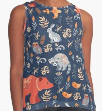 Fairy-tale forest. Fox, bear, raccoon, owls, rabbits, flowers and herbs on a blue background. Contrast Tank