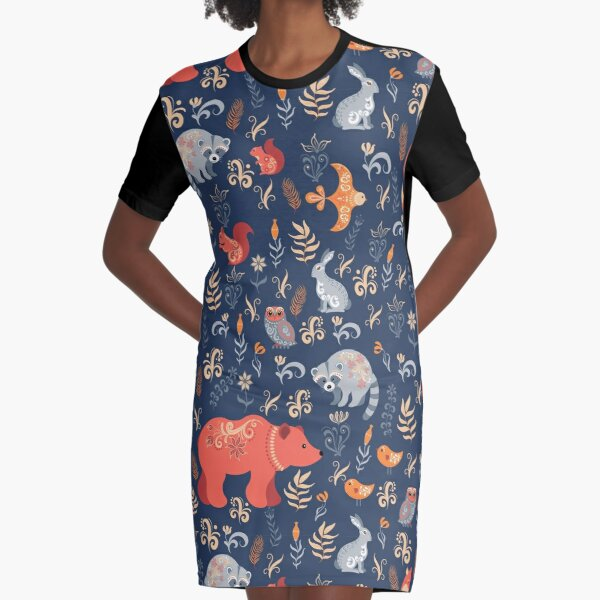 Fairy-tale forest. Fox, bear, raccoon, owls, rabbits, flowers and herbs on a blue background. Graphic T-Shirt Dress