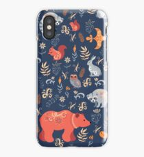 Fairy-tale forest. Fox, bear, raccoon, owls, rabbits, flowers and herbs on a blue background. iPhone Case/Skin