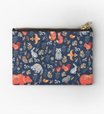 Fairy-tale forest. Fox, bear, raccoon, owls, rabbits, flowers and herbs on a blue background. Studio Pouch