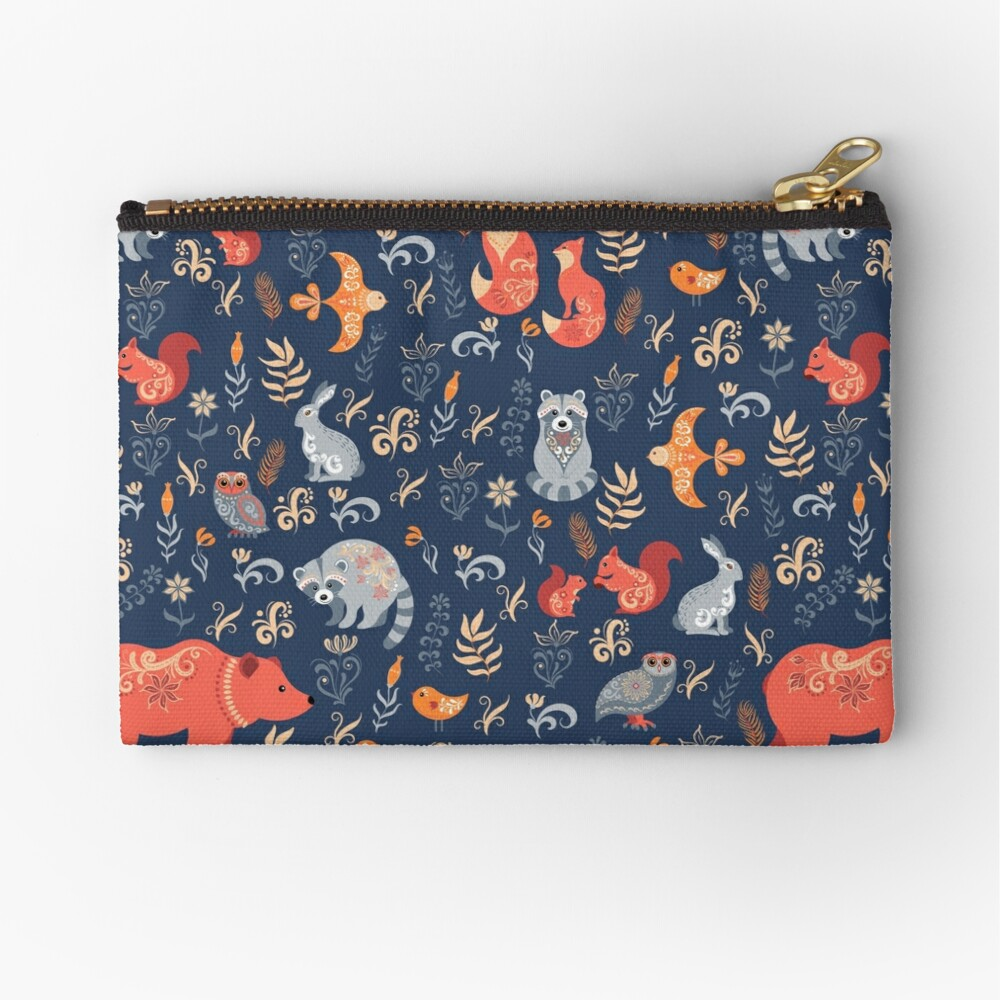 Fairy-tale forest. Fox, bear, raccoon, owls, rabbits, flowers and herbs on a blue background. Zipper Pouch