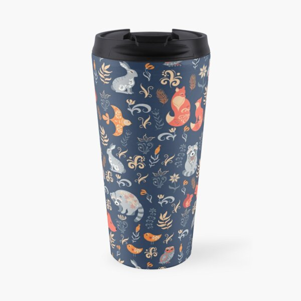 Fairy-tale forest. Fox, bear, raccoon, owls, rabbits, flowers and herbs on a blue background. Travel Mug
