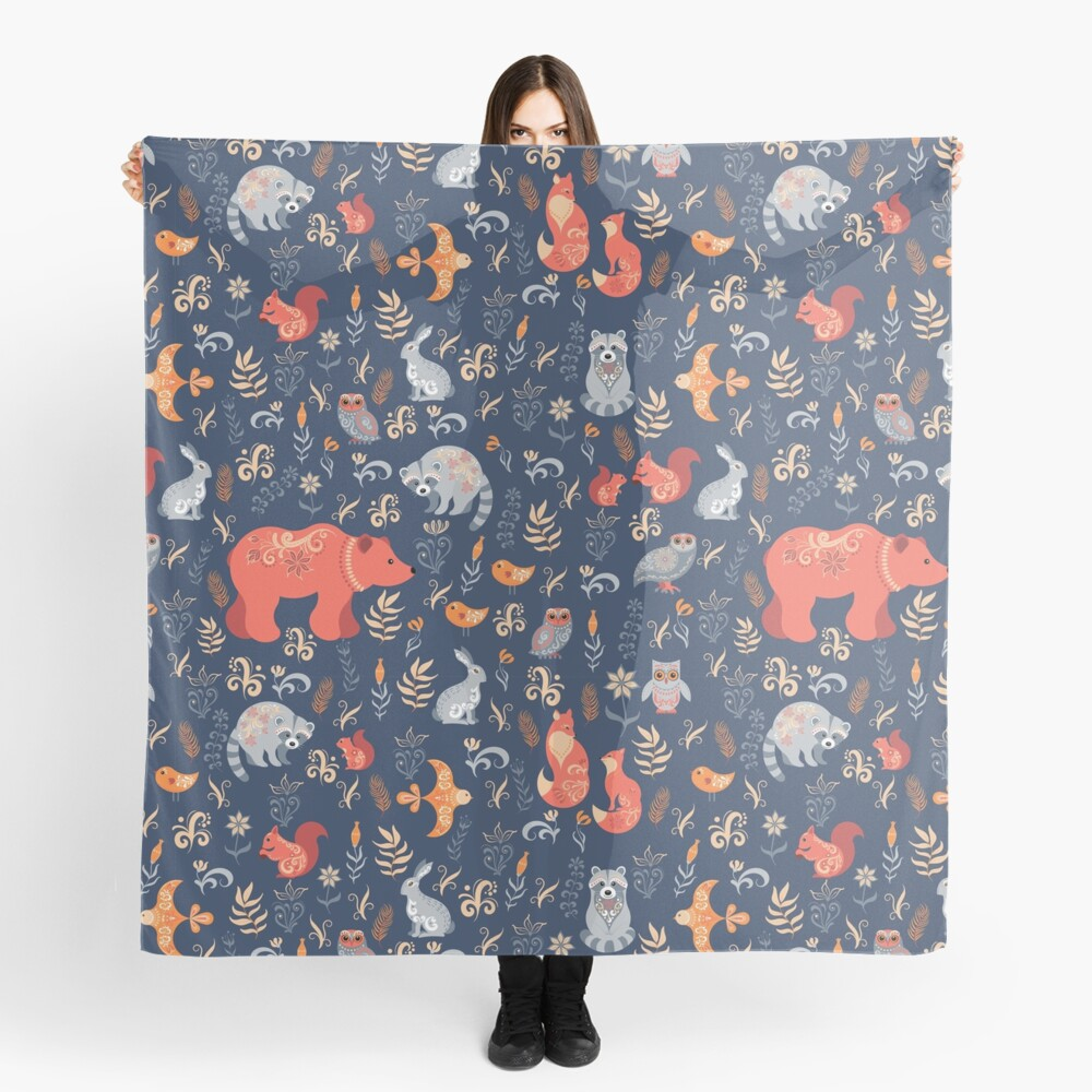Fairy-tale forest. Fox, bear, raccoon, owls, rabbits, flowers and herbs on a blue background. Scarf