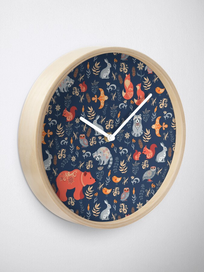 Alternate view of Fairy-tale forest. Fox, bear, raccoon, owls, rabbits, flowers and herbs on a blue background. Clock
