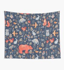Fairy-tale forest. Fox, bear, raccoon, owls, rabbits, flowers and herbs on a blue background. Wall Tapestry