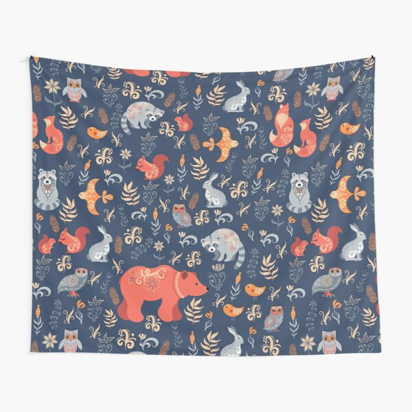 Fairy-tale forest. Fox, bear, raccoon, owls, rabbits, flowers and herbs on a blue background. Tapestry