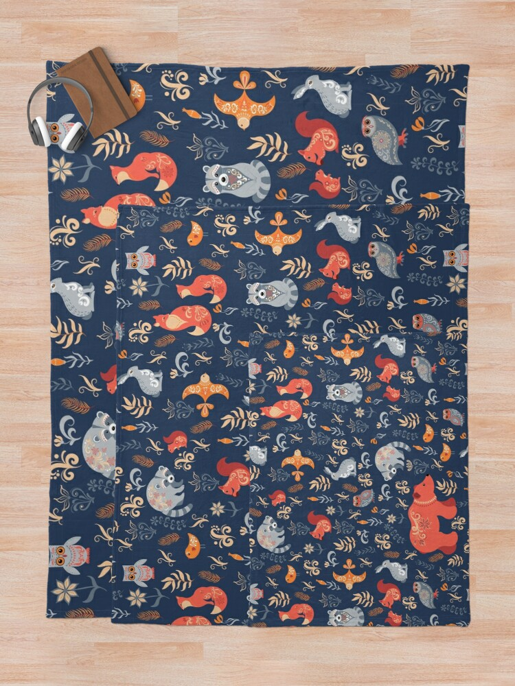 Alternate view of Fairy-tale forest. Fox, bear, raccoon, owls, rabbits, flowers and herbs on a blue background. Throw Blanket