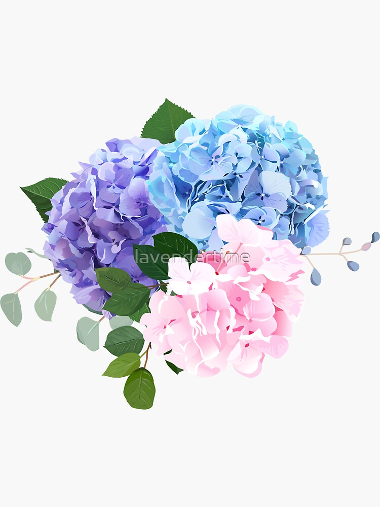 Blue, pink and purple hydrangea, orchid, rose, white chrysanthemum,  by lavendertime