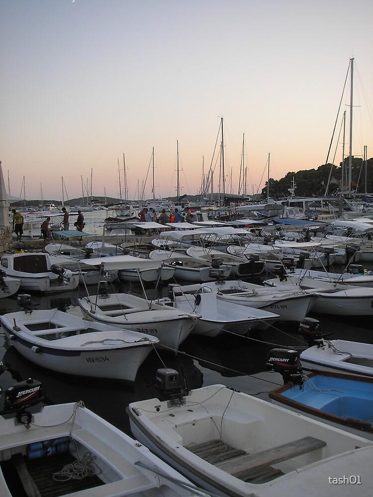 Boats at sunset, Hvar, Croatia by tash01
