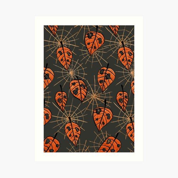 Orange Leaves With Holes And Spiderwebs Art Print