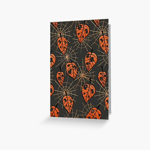 Orange Leaves With Holes And Spiderwebs Greeting Card