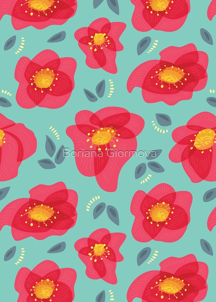 Pretty Flowers With Bright Pink Petals On Blue by Boriana Giormova