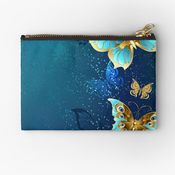 Golden Butterflies on a Blue Background Zipper Pouch