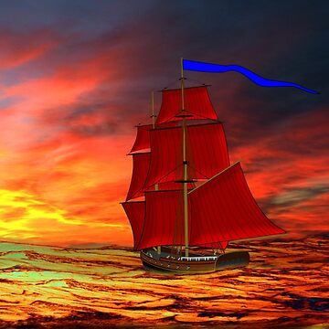 A Brig With Red Sails Sailing Into the Sunset 19th century by ZipaC