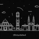 Ahmedabad Minimal Skyline Line Art by A Deniz Akerman
