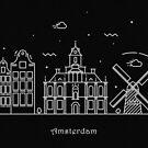 Amsterdam Skyline Minimal Line Art Poster by A Deniz Akerman
