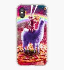 Laser Augen Weltraum Katze Reiten auf Lama Einhorn iPhone-Hülle & Cover
