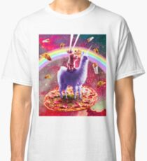 Laser Eyes Outer Space Cat Riding On Llama Unicorn Classic T-Shirt