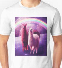 Crazy Funny Rainbow Llama In Space  Unisex T-Shirt