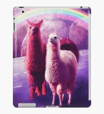 Crazy Funny Rainbow Llama In Space  iPad Case/Skin