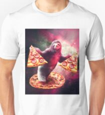 Funny Space Sloth With Pizza  Unisex T-Shirt