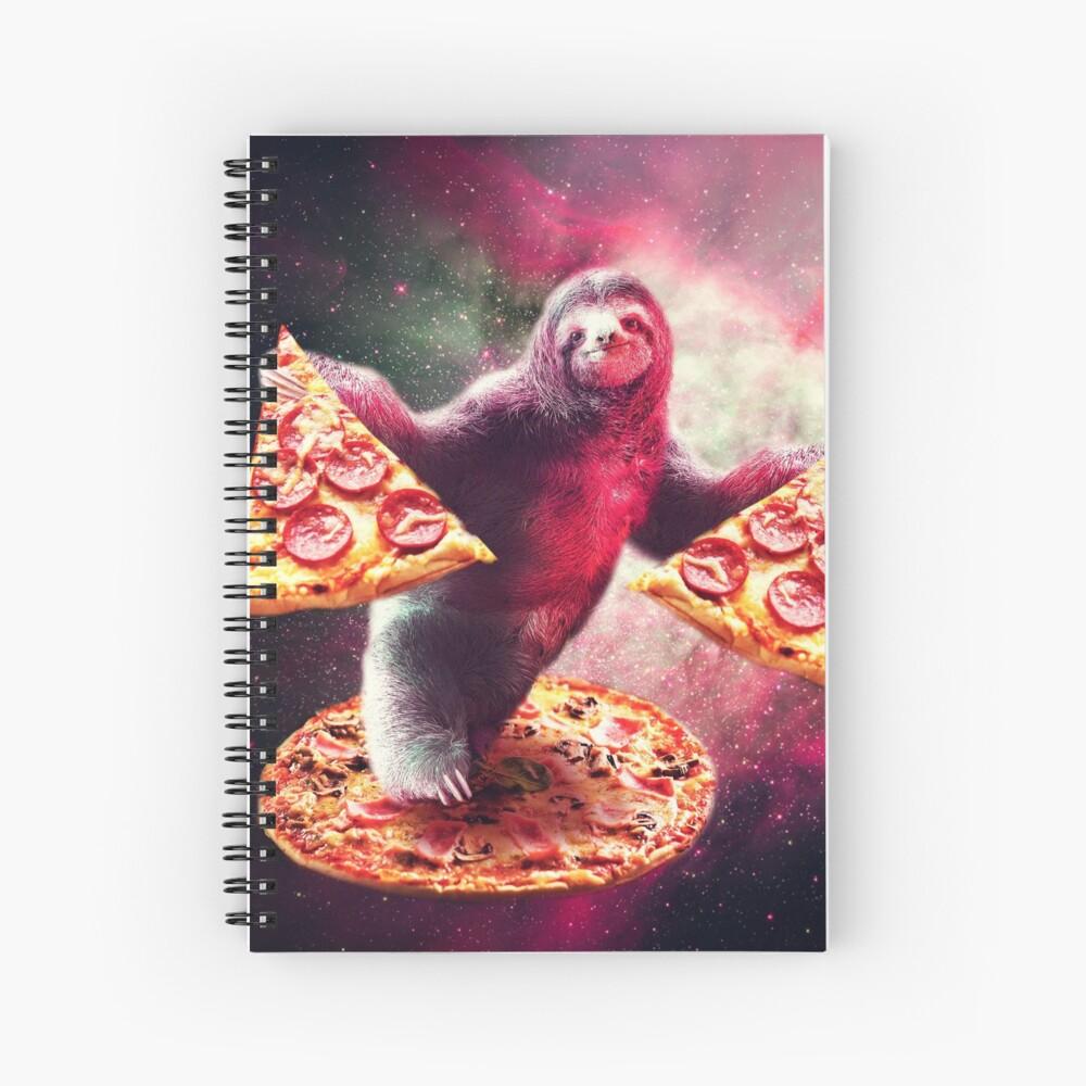 Lustige Space Sloth mit Pizza Spiralblock