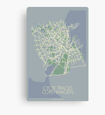Cycle Tracks - Copenhagen - Blue (with map) Canvas Print