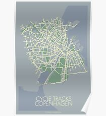 Cycle Tracks - Copenhagen - Blue (with map) Poster