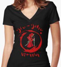 BJJ Brazilian Jiu-Jitsu Fighter Black Belt MMA Samurai Women's Fitted V-Neck T-Shirt