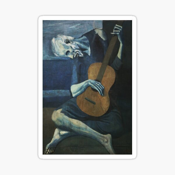 Old Guitarist by Picasso Sticker