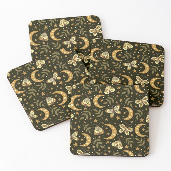 Moons and moths Coasters (Set of 4)