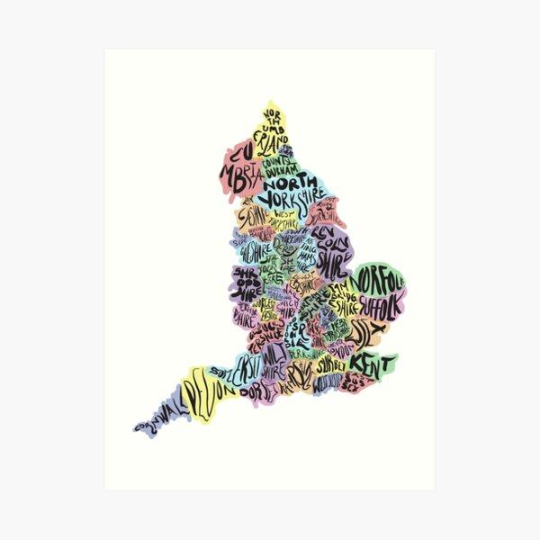 Typographical UK County Map Art Print