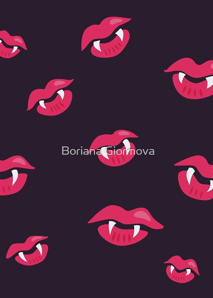 Vampire Lips With Fangs Pattern by Boriana Giormova